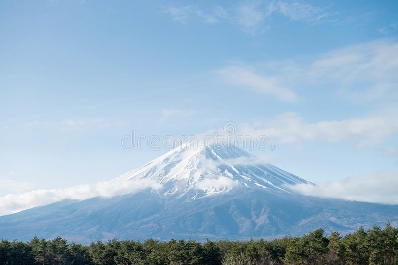 Fuji mountain in morning with snow cover royalty free stock photography