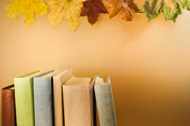 Close-up top part of vertical stack of books on light background with autumn maple leaves and copy space. royalty free stock photo