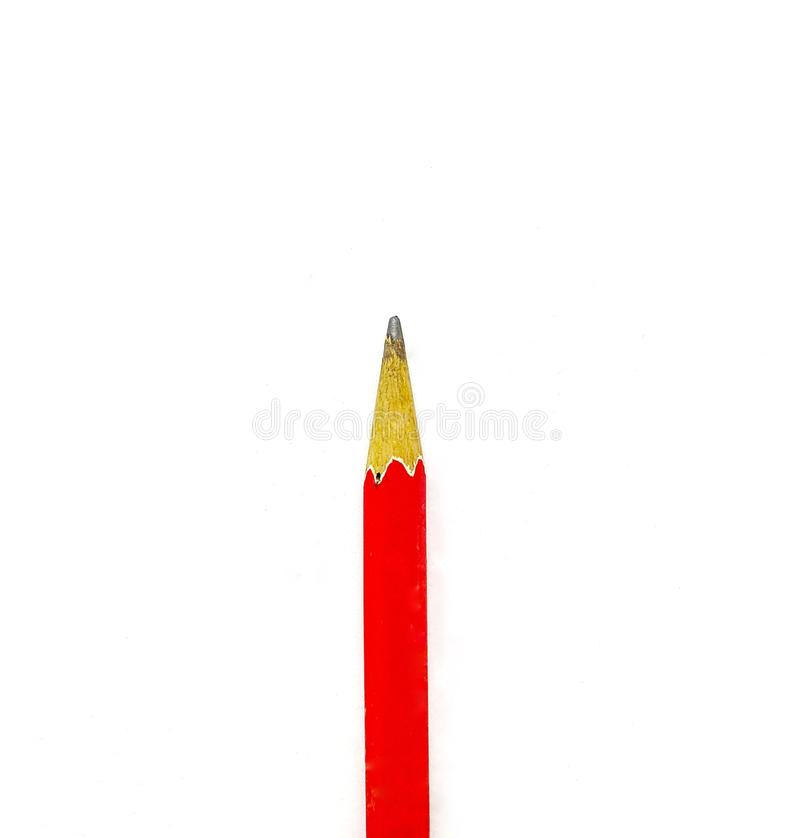 Close up the top of the red pencil. royalty free stock photography