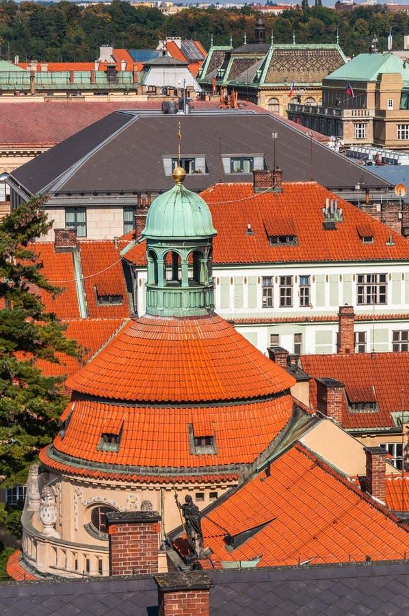 Close up at top roof of church, Prague