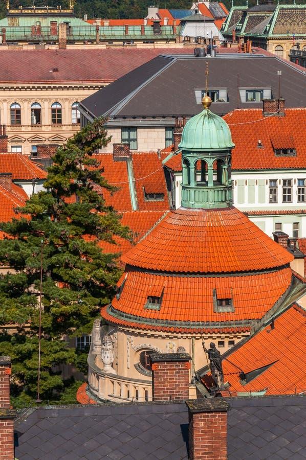 Close Up At Top Roof Of Church, Prague Stock Photo