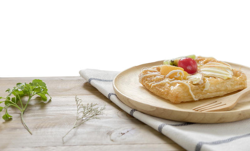 Close up ,Top view Danish Pastries with Fruit on wood dish. Look good taste stock photo