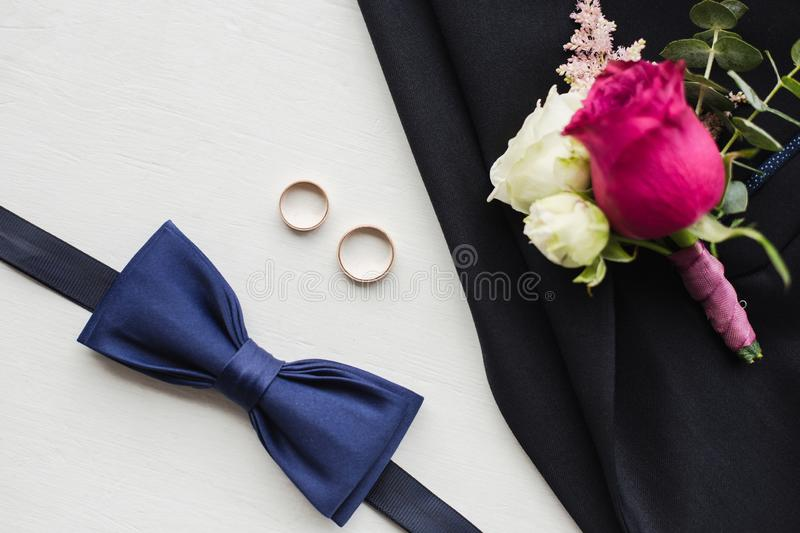 Close up top view of elegant modern formal male accessories royalty free stock photo