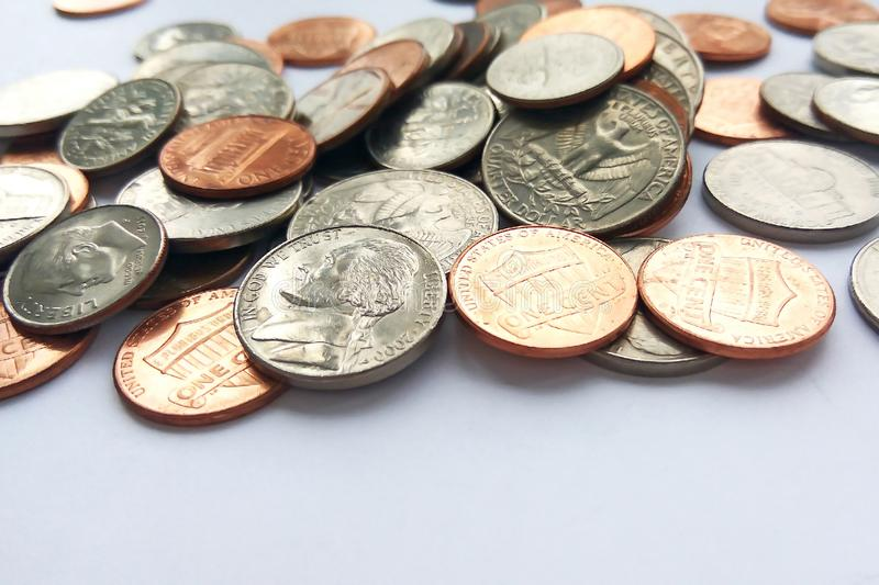 Large amount of old money coins of different countries and times background royalty free stock images