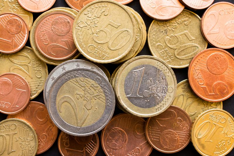 Close up top view of large amount of  Euro money coins, business background. Close up top view of large amount of Euro money coins, business background royalty free stock photography