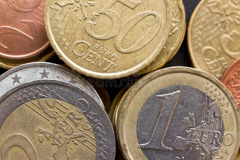 Close up top view of large amount of  Euro money coins, business background. Close up top view of large amount of Euro money coins, business background royalty free stock images