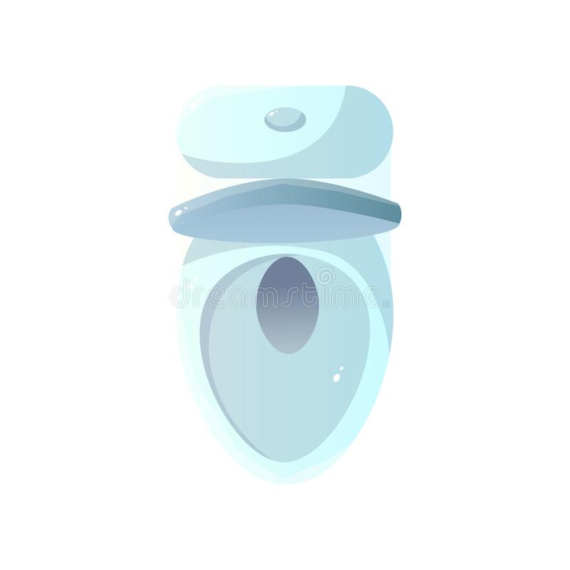 Close-up top view of white ceramic toilet with bowl and opened toilet lid isolated on white background. Close-up top view of single white ceramic toilet with royalty free illustration