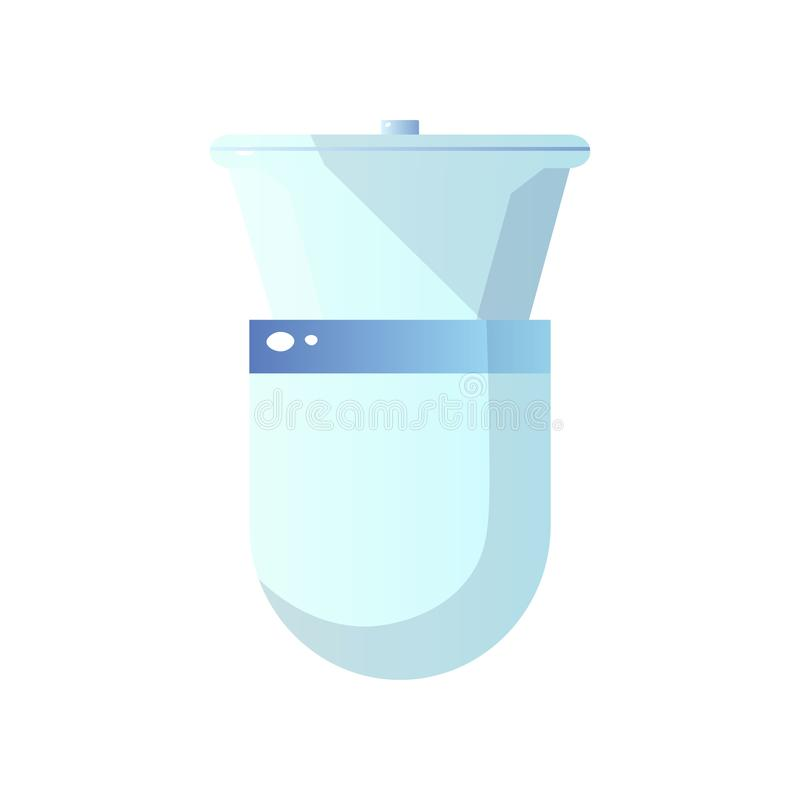 Close-up top view of white ceramic toilet with bowl and closed toilet lid isolated on white background. Classic compact design. Modern bathroom ceramics vector illustration