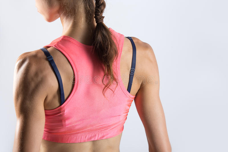 Close-up of torso of sporty young woman. Back view royalty free stock image