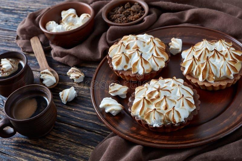 Close-up tortas do chocolate da merengue do limão de mini imagens de stock royalty free