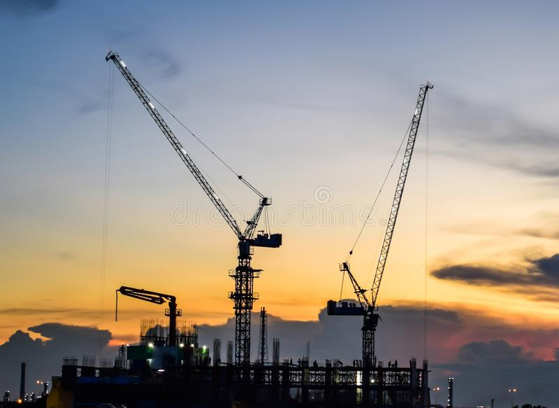 Close up of Tower Crane, Under Construction in Bangkok, Thailand royalty free stock photos