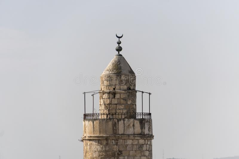 Close up of Tower of David the old city walls of Jerusalem Israel against the sky. The tower of David is an ancient citadel royalty free stock photo