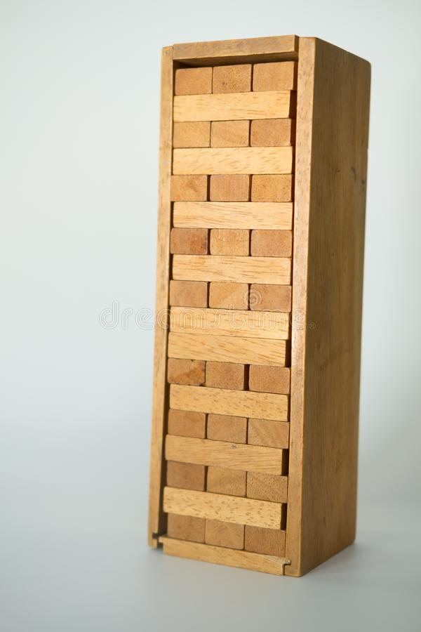 Close up of tower stack from wooden blocks toy stock photography