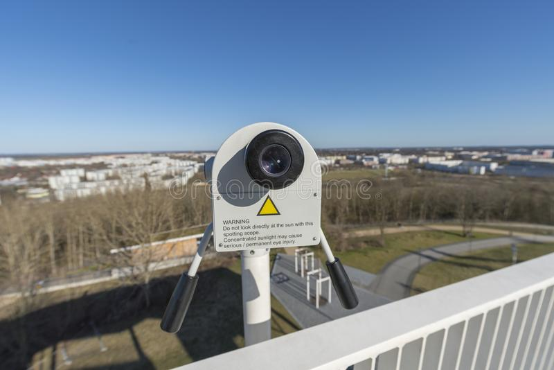Close up of a tower viewer stock image. Image of sign ...