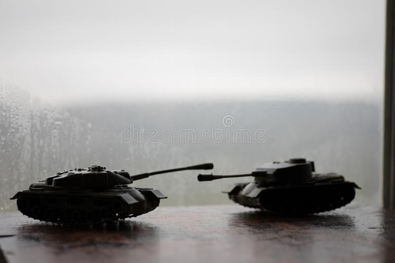 Close up of toy military tank. Selective focus. Battle or war concept. Ual image royalty free stock image