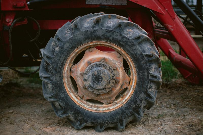 Close up of tractor tire and rim stock photography