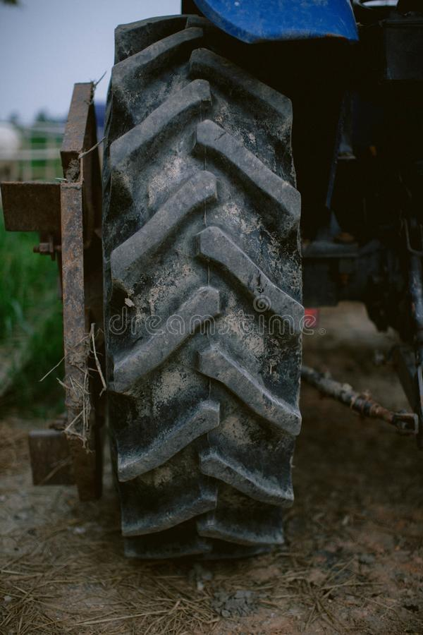 Close up of tractor tire tread, tyre tread, tire texture royalty free stock photos