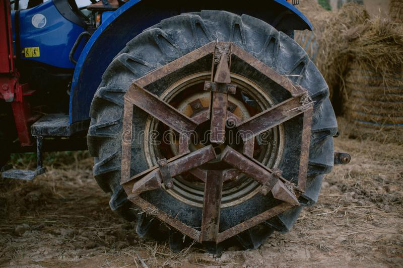 Close up of tractor tyre and rim royalty free stock images