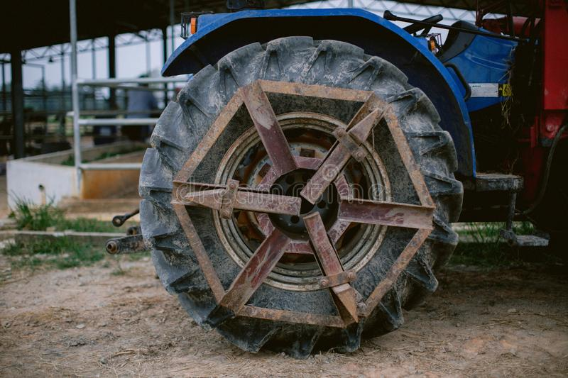 Close up of tractor tyre and rim royalty free stock photo