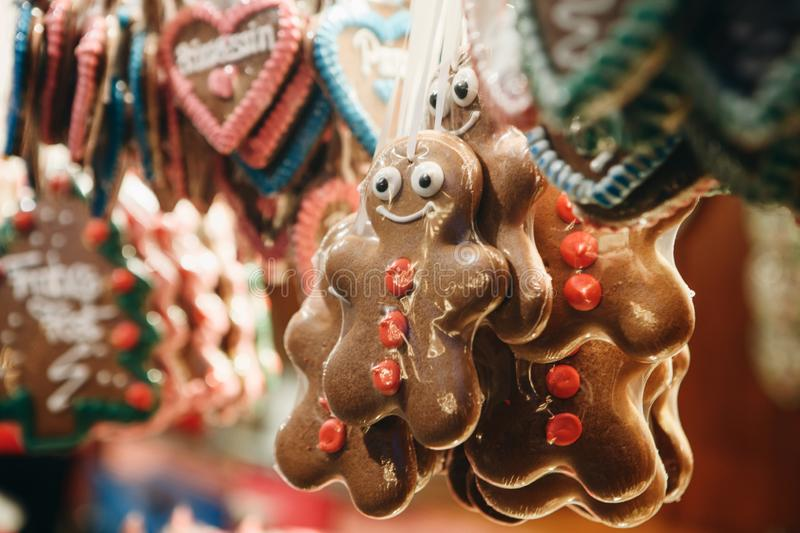 Close-up of traditional German cookies on Christmas market.  royalty free stock photos