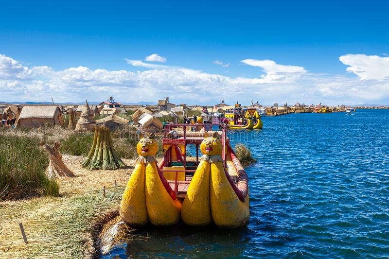Close-up traditional reed boat as transportation for tourists, floating Uros islands on lake Titicaca in Peru, South royalty free stock images