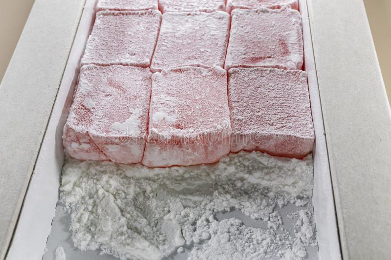 traditional Turkish delight in box stock photos