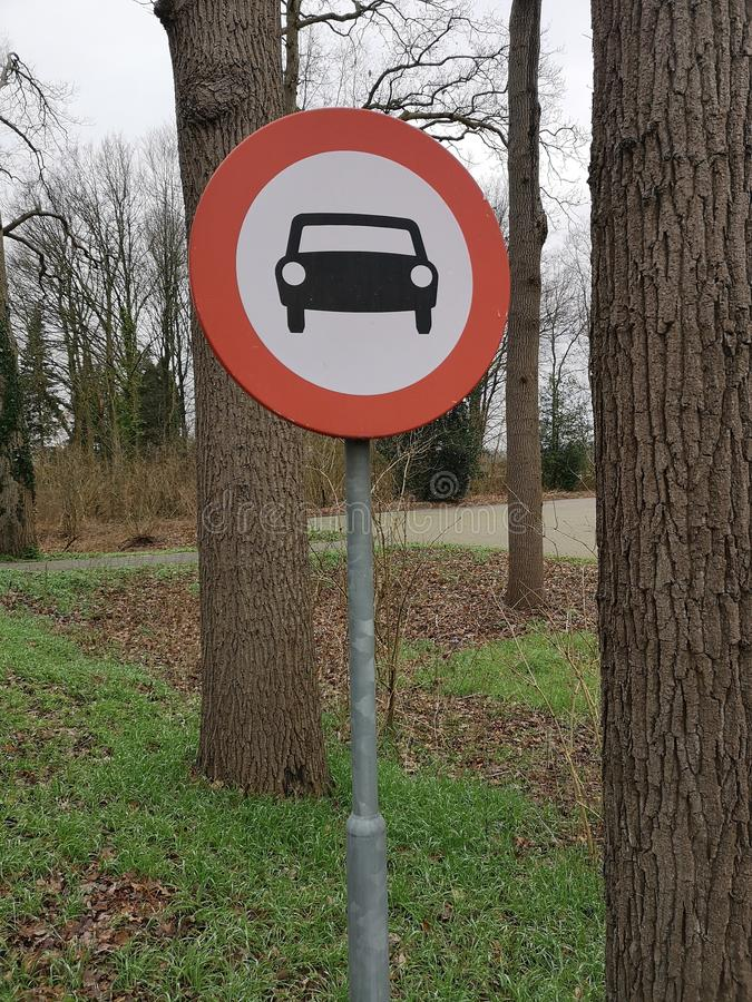 Close-up of traffic sign telling access is not allowed for motor vehicles royalty free stock image