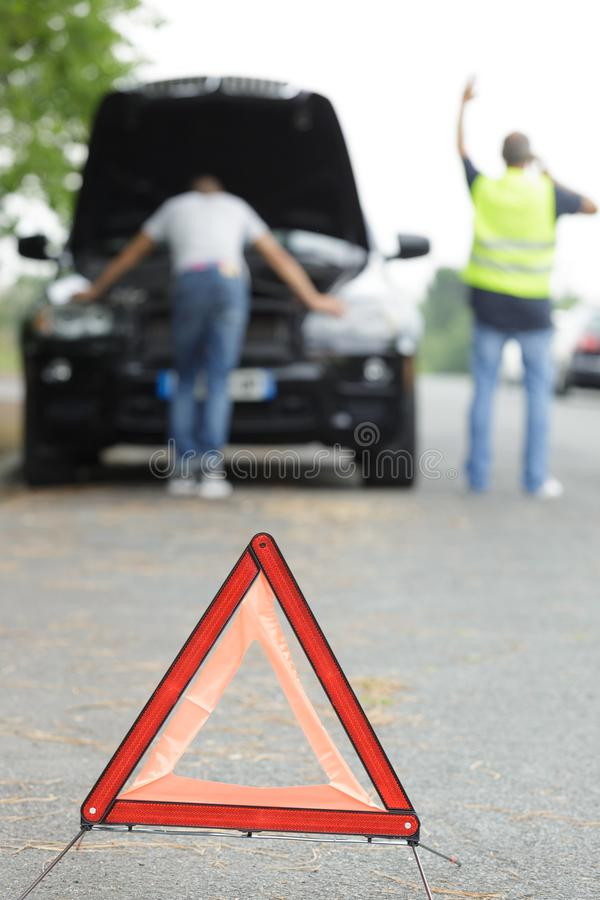 Close up triangle sign stock photography