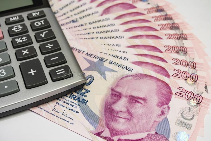 Close up turkish lira banknotes stock images