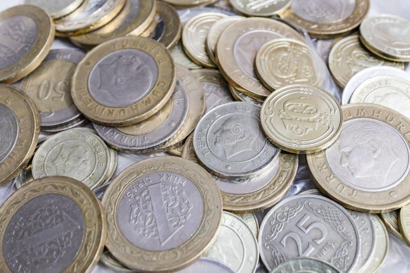 Close up turkish metal coins. Close up turkish metal mixed coins stock images