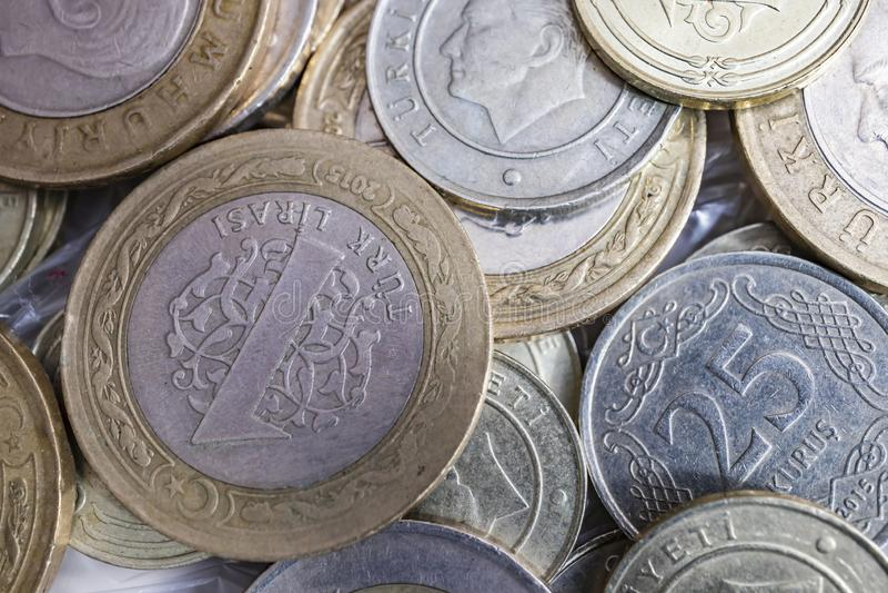 Close up turkish metal coins. Close up turkish metal mixed coins royalty free stock images