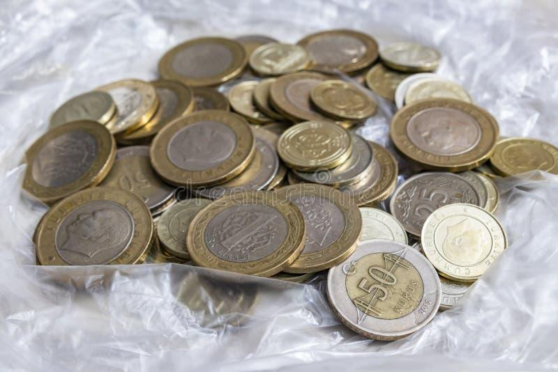Close up turkish metal coins. Close up turkish metal mixed coins stock image