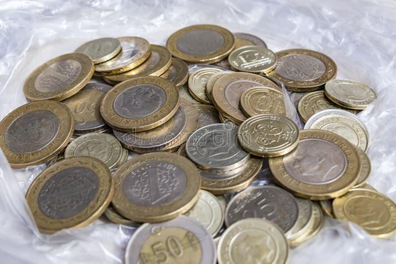 Close up turkish metal coins. Close up turkish metal mixed coins stock photo