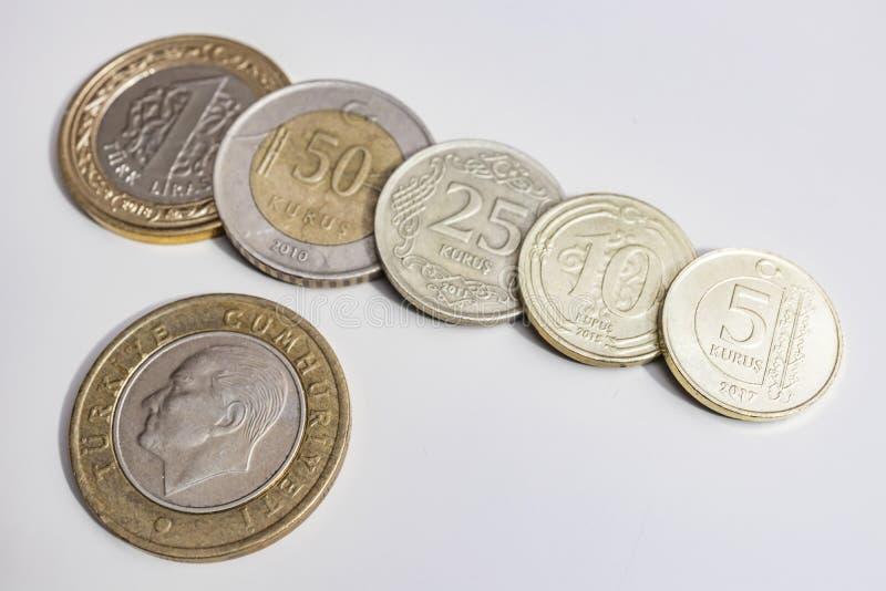 Close up turkish metal coins. Close up turkish metal mixed coins royalty free stock image