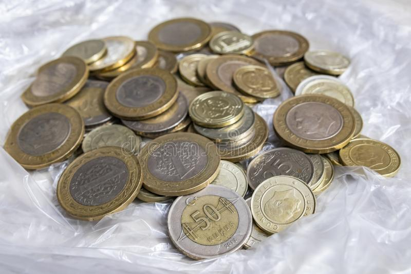Close up turkish metal coins. Close up turkish metal mixed coins royalty free stock photos