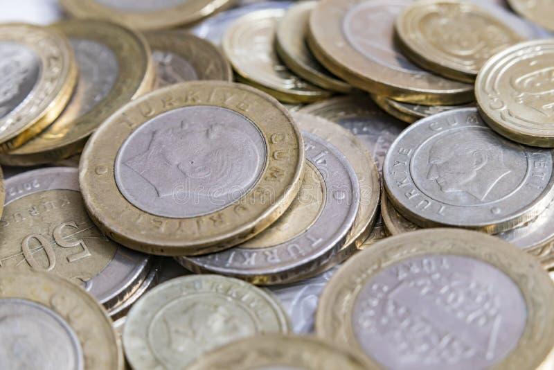 Close up turkish metal coins. Close up turkish metal mixed coins stock photos
