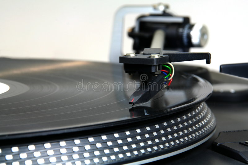 Close up of a turntable stock photo