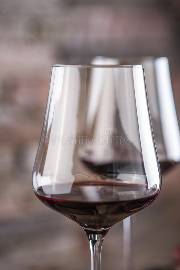 Close-up two cups with red wine in restaurant royalty free stock images