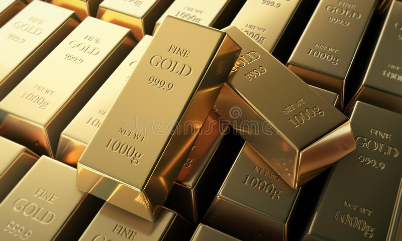 Close up of two fine 999,9 gold bars vector illustration