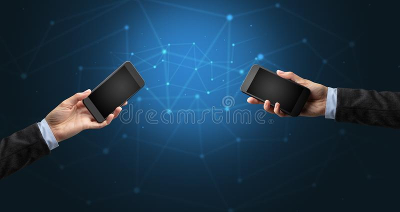 Close up of two hands holding smartphones. To each other, wireless connection concept royalty free illustration