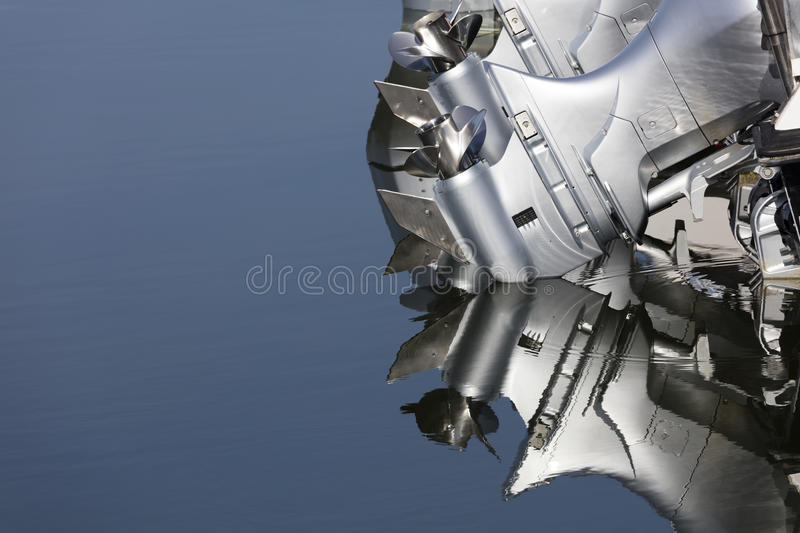 Close up of two outboard boat motors royalty free stock photo