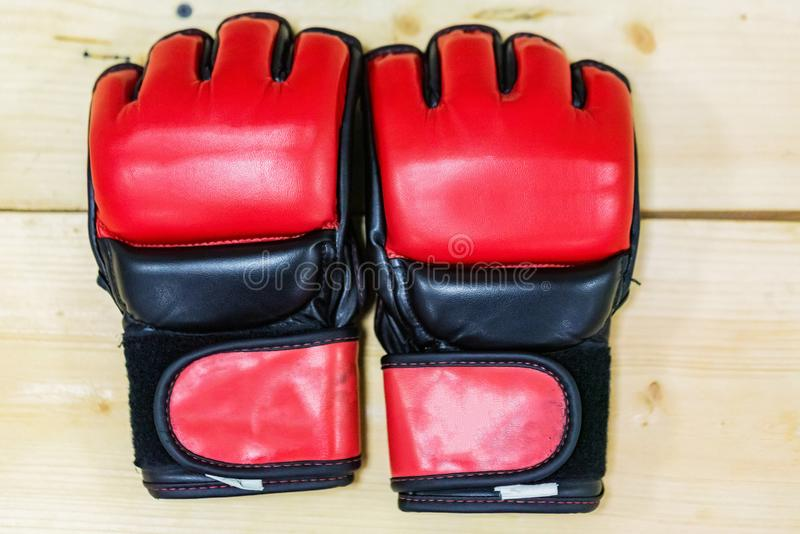 Close up two red MMA boxing gloves stock photo