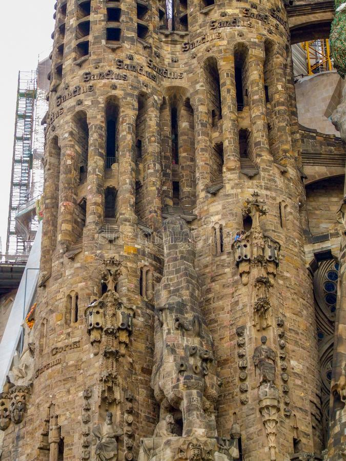 Close-up on two towers of Sagrada Familia Basilica in Barcelona. royalty free stock photography