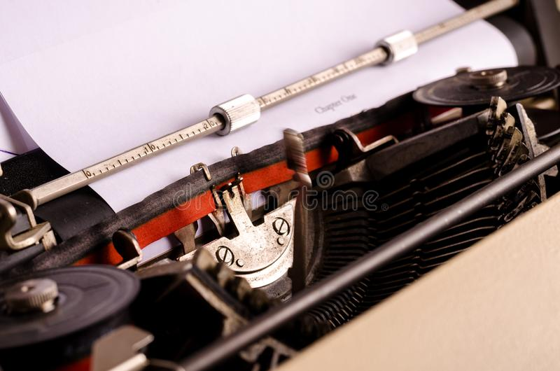 Beginning a new article article. Close up with typewriter, blogging, text, writing royalty free stock photography