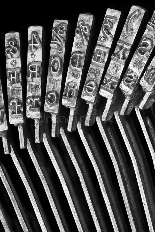 Close-up of Typewriter typebars. Type hammer stock images