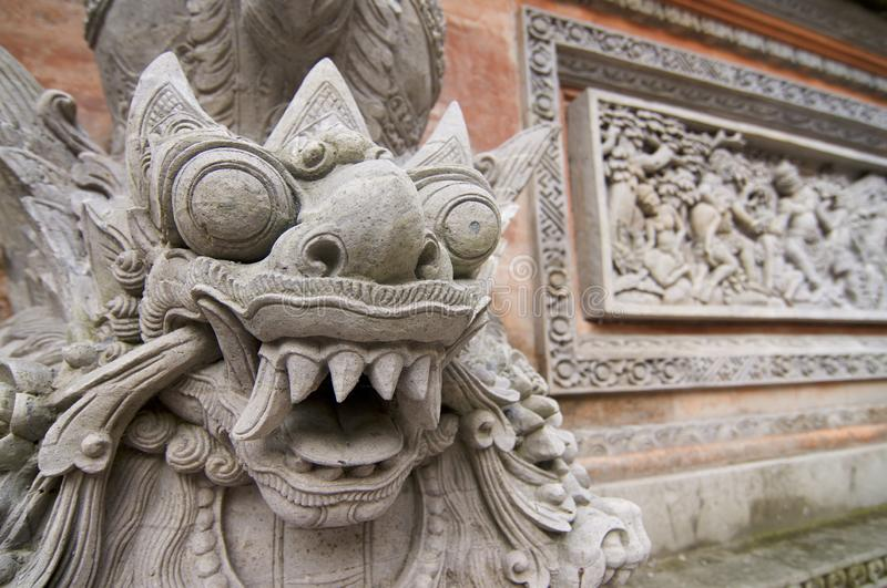 Close up of a typical Balinese stone statue stock photos