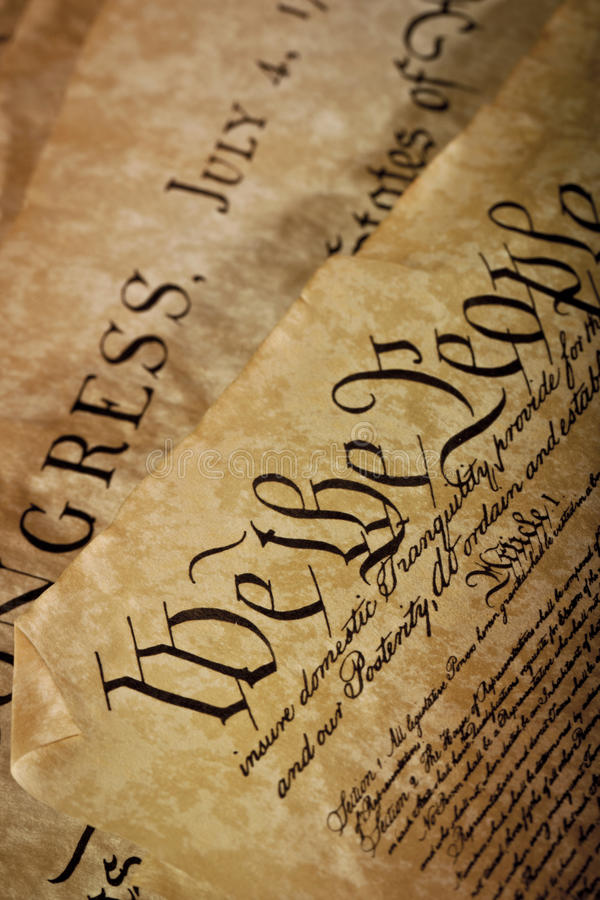 Close-up of the U.S. Constitution royalty free stock photography