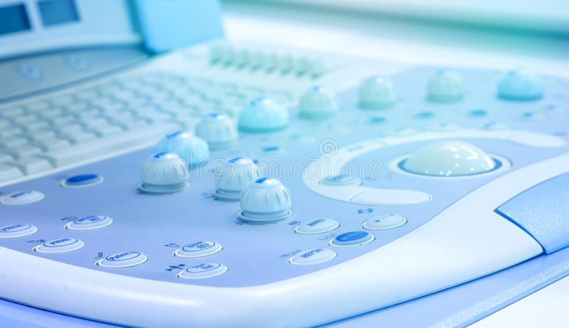 Close-up ultrasound diagnostics equipment in hospital electronic medical machine stock image