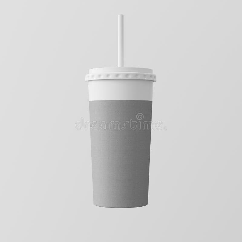 Close-up um fundo vazio do branco de Gray Kraft Smoothies Cup Isolated Leve embora a parte superior fechado do tubo do tampão da  foto de stock royalty free