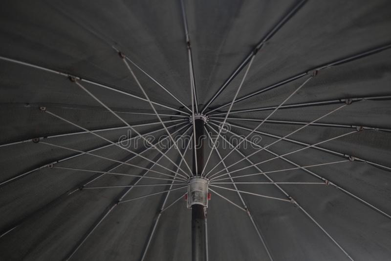 Bottom view of black umbrella texture background. Monotone image. stock images